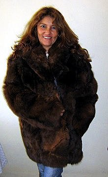 Brown midi fur jacket,Babyalpaca pelt,outerwear