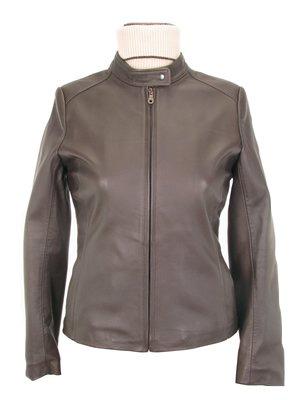Women�s dark brown casual Lambskin leather Jacket,outerwear