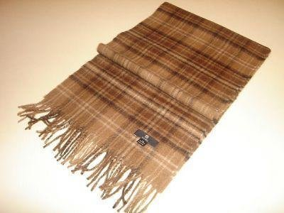 Brown checked shawl,scarf made of Babyalpaca wool