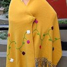 Yellow embroidered shawl, wrap made of Alpaca wool