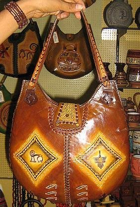 Handmade ethnic leather bag from Peru