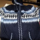 Blue hooded jacket made of pure cosy Alpacawool