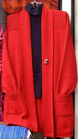 Red long Cardigan, Jacket made of alpaca wool