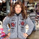 Ethnic cardigan, jacket made of pure Alpacawool hand-embroid