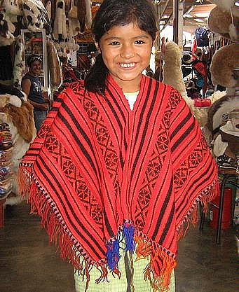 Red Poncho From Peru Outerwear Made Of Alpacawool