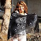 Black crocheted wrap, made of Alpacawool, shawl