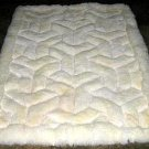 White alpaca fur rug,V design throw ,59 x 43 Inches