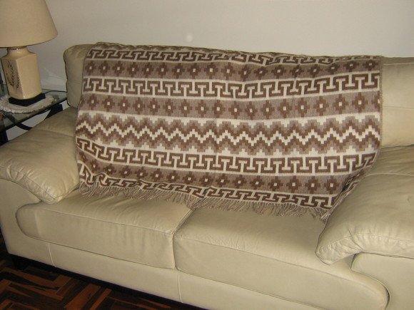 Brown blanket made of alpacawool, bedspread, coverlet