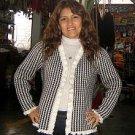 black,white chekked Jacket,Blazer of Alpaca wool