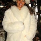 White Babyalpaka fur jacket with a fitting Hat,outerwear