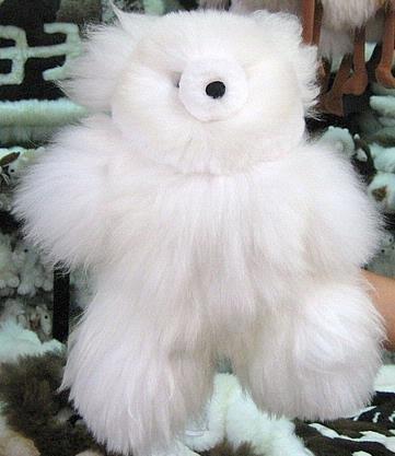 Fur Teddy Bear,white Babyalpaca fur, soft toy,figure
