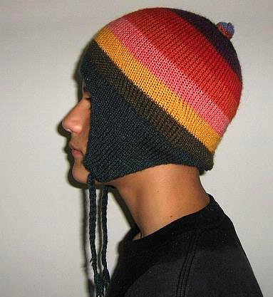 Colorful peruvian Chullo, Woolly Hat made of Alpacawool