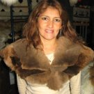 Brown Alpaca fur stola, neck warmer, shawl