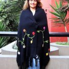 Embroidered shawl, wrap made of pure Alpacawool