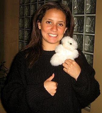 Fur Teddy Bear made of babyalpaca pelt, soft toy 6 inch.