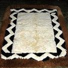 White and brown alpaca fur rug from Peru, 80 x 60 cm