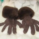 Brown gloves,made of Babyalpaca wool and fur,mittens