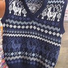 Blue Vest for Kids with a peruvian design, alpacawool