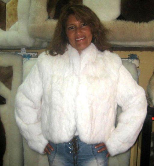White Chinchilla Rex Rabbit Fur Jacket Outerwear