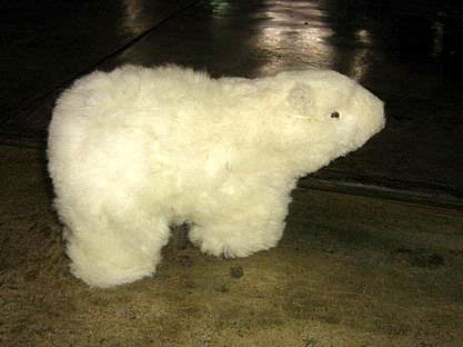 Fur polar bear figure, handmade of alpaca fur, soft toy