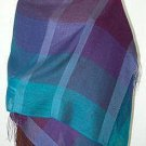 Weaved chekked shawl,Babyalpaca wool with Silk