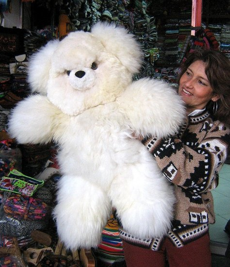 White fur Teddy baer, made of Alpaca fur, 31.5 Inches
