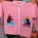 Pink embroidered ethnic knitted Cardigan,Alpacawool