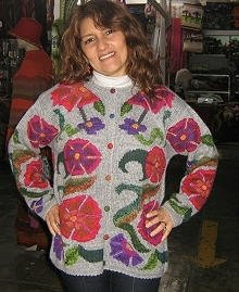 Embroidered cardigan, jacket made of Alpacawool