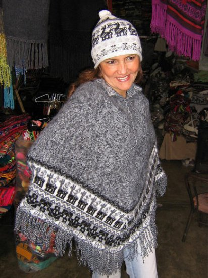Gray poncho & Hat made of Alpacawool,outerwear