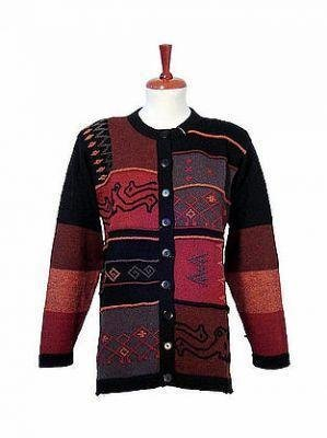 Ethnic long cardigan,made of pure Alpaca wool