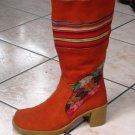 Handmade orange boots, Nappa leather shoes