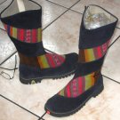 Handmade dark blue boots, Nappa leather shoes