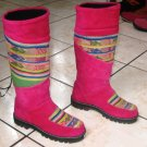 Handmade pink boots, Nappa leather shoes