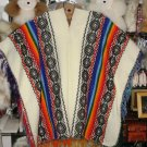 Typical peruvian white Poncho, folkloric designs
