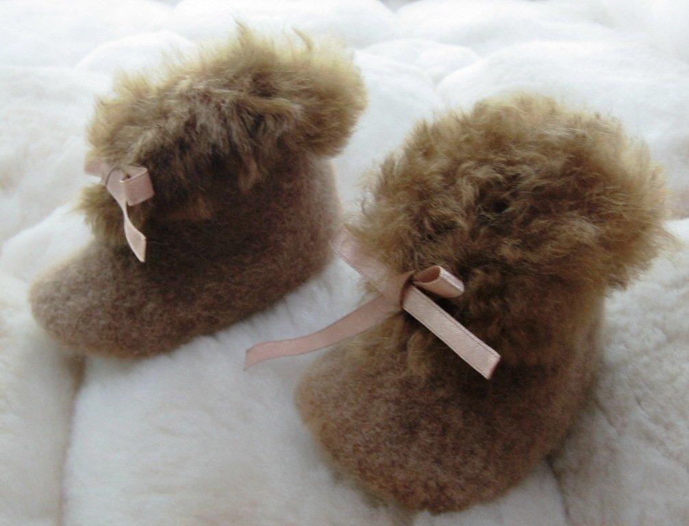 Soft brown Baby Alpaca Fur Slippers, 0 - 12 month