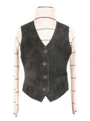 Dark grey sleeveless vest, lamb nappa leather