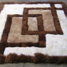 Peruvian Alpaca fur rug with geometric design, 150 x 110 cm