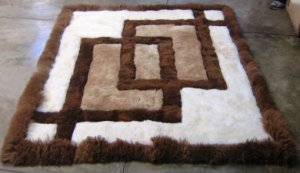 Peruvian Alpaca fur rug with geometric design, 220 x 200 cm