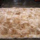 Peruvian light Beige alpaca fur rug, rhombus design, 90 x 60 cm