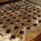 Octagon design alpaca fur rug, browns & black, 220 x 200 cm
