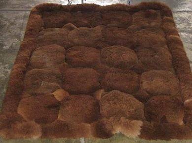 Dark brown Alpaca fur rug from Peru, 80 x 60 cm