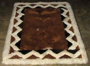 Brown alpaca fur rug with white Ornaments, 200 x 220 cm