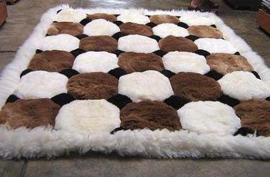 White and brown Alpaca fur rug, Octagon designs 190 x 140 cm