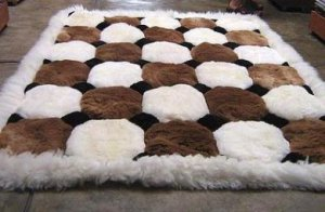 White and brown Alpaca fur rug, Octagon designs 300 x 200 cm
