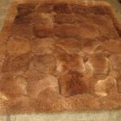 Brown Alpaca fur rug, Octagon, 80 x 60 cm
