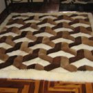 Peruvian Alpaca fur rug with a 3D-Design, 80 x 60 cm