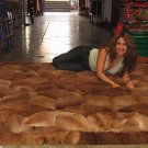 Brown alpaca fur carpet with rhombus designs, 90 x 60 cm