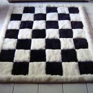Designer alpaca fur rug, black and white, chess design, 300 x 280 cm