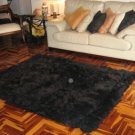 Black alpaca fur carpet, from the Andes of Peru, 90 x 60 cm