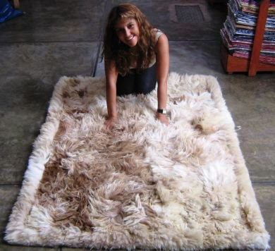 Suri alpaca fur carpet, long-haired fur, 80 x 60 cm
